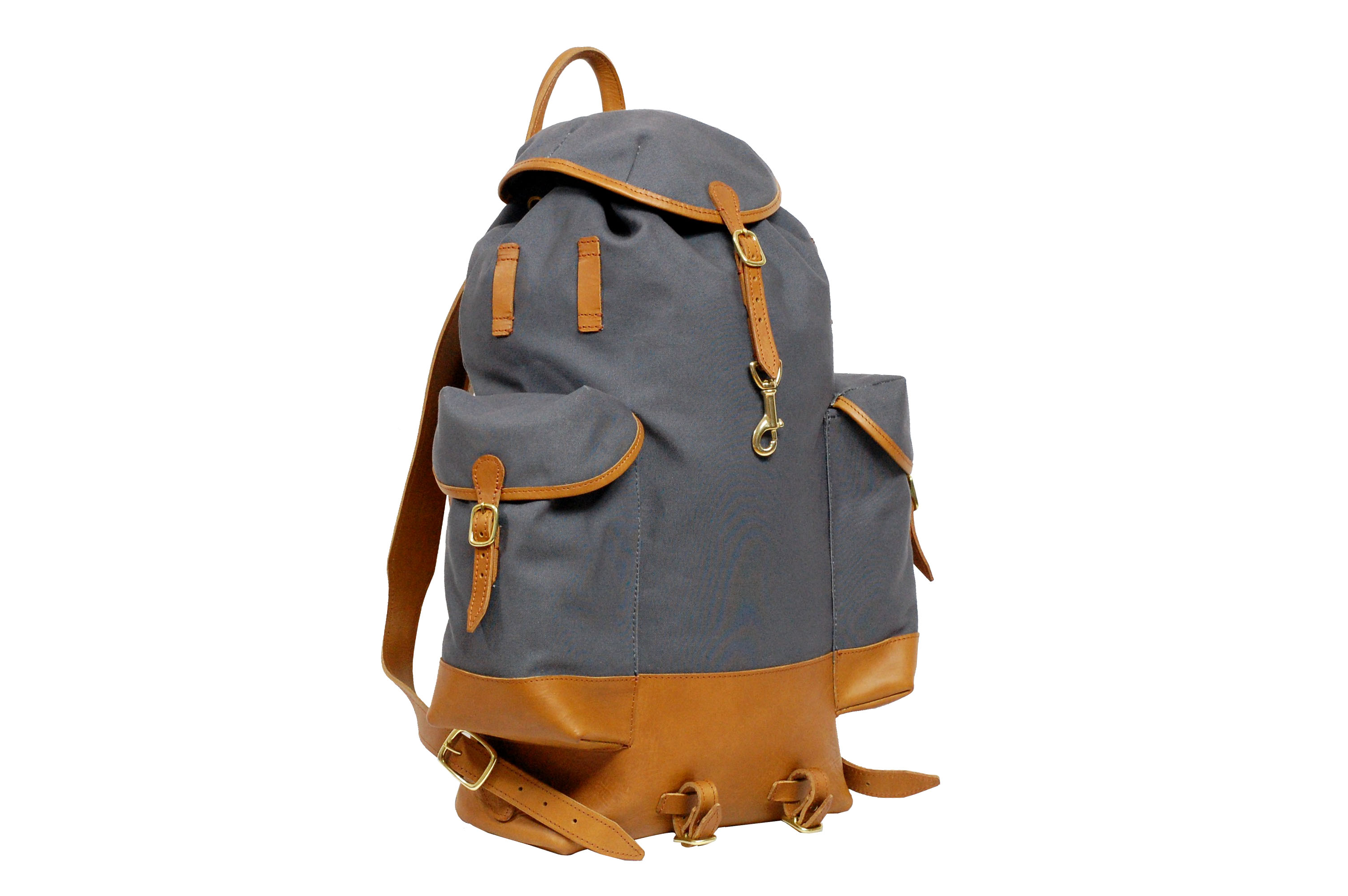 Mahiout perce-neige backpack in cotto canvas and leather, luxury designer backpack