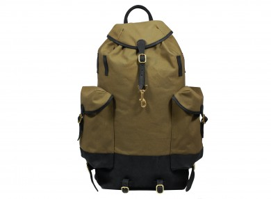 MAHIOUT PERCE NEIGE BACKPACK IN BLACK/OLIVE, LEAHTER, CANVAS, luxury, designer