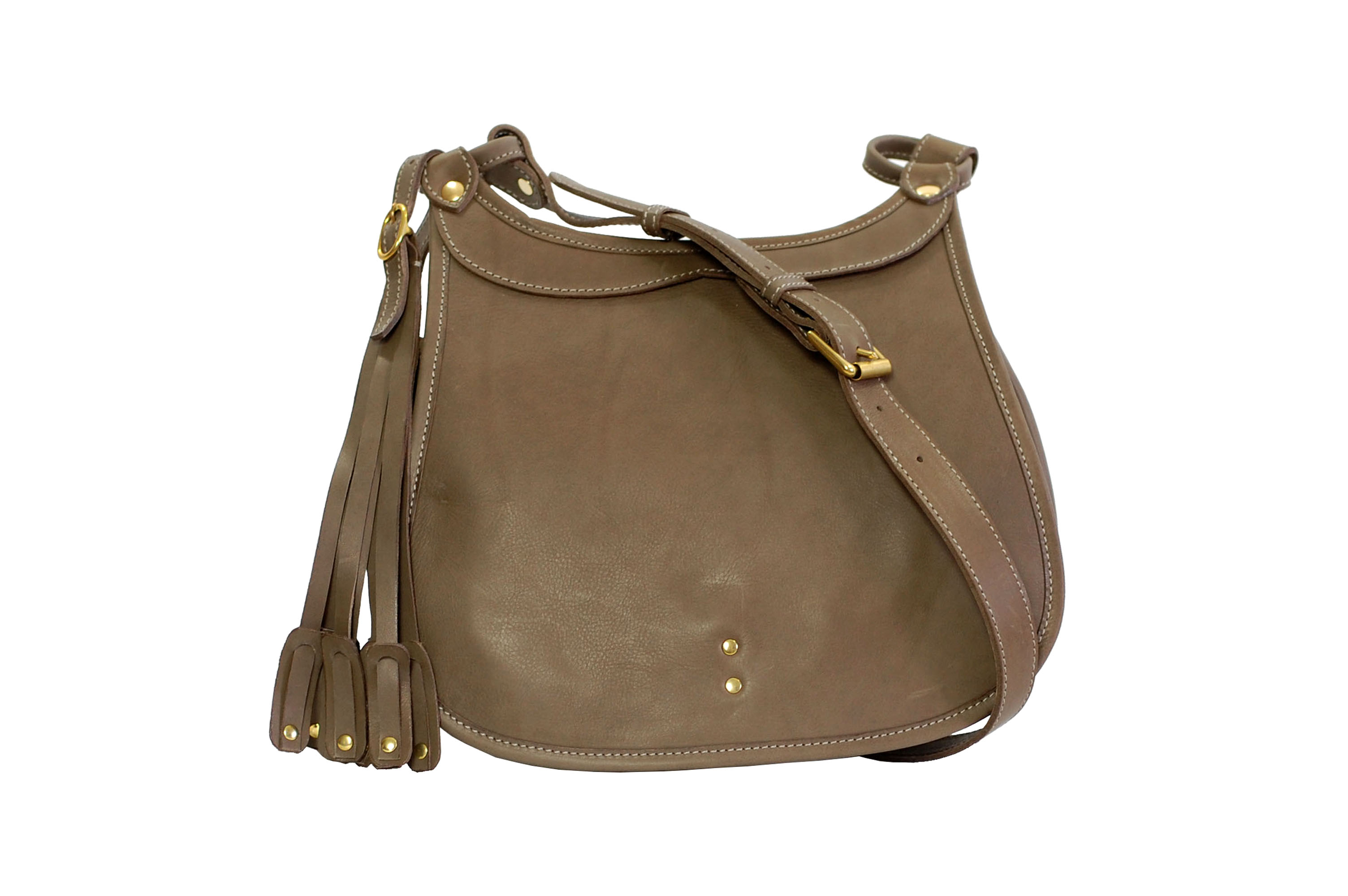 Mahiout Hawk bag in olive vegetable tanned leather