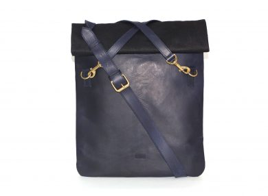 Mahiout shift messenger bag backpack in oiled cotton canvas and leather