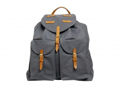 MAHIOUT HELRIK BACKPACK IN COTTON CANVAS AND LEATHER, LUXURY DESIGNER BACKPACK