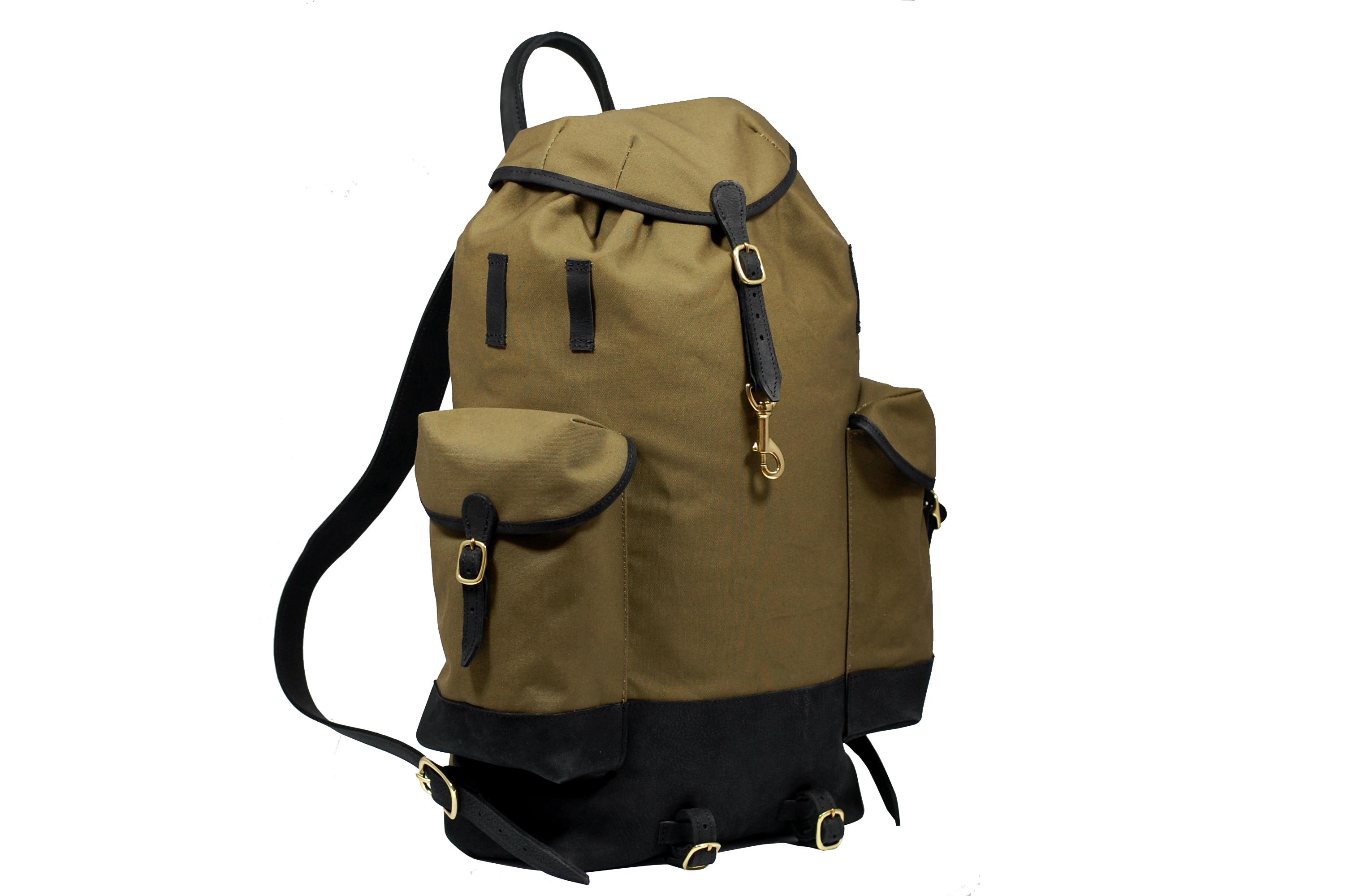 MAHIOUT Perce neige backpack in black/olive, designer, luxury, craftsmanship