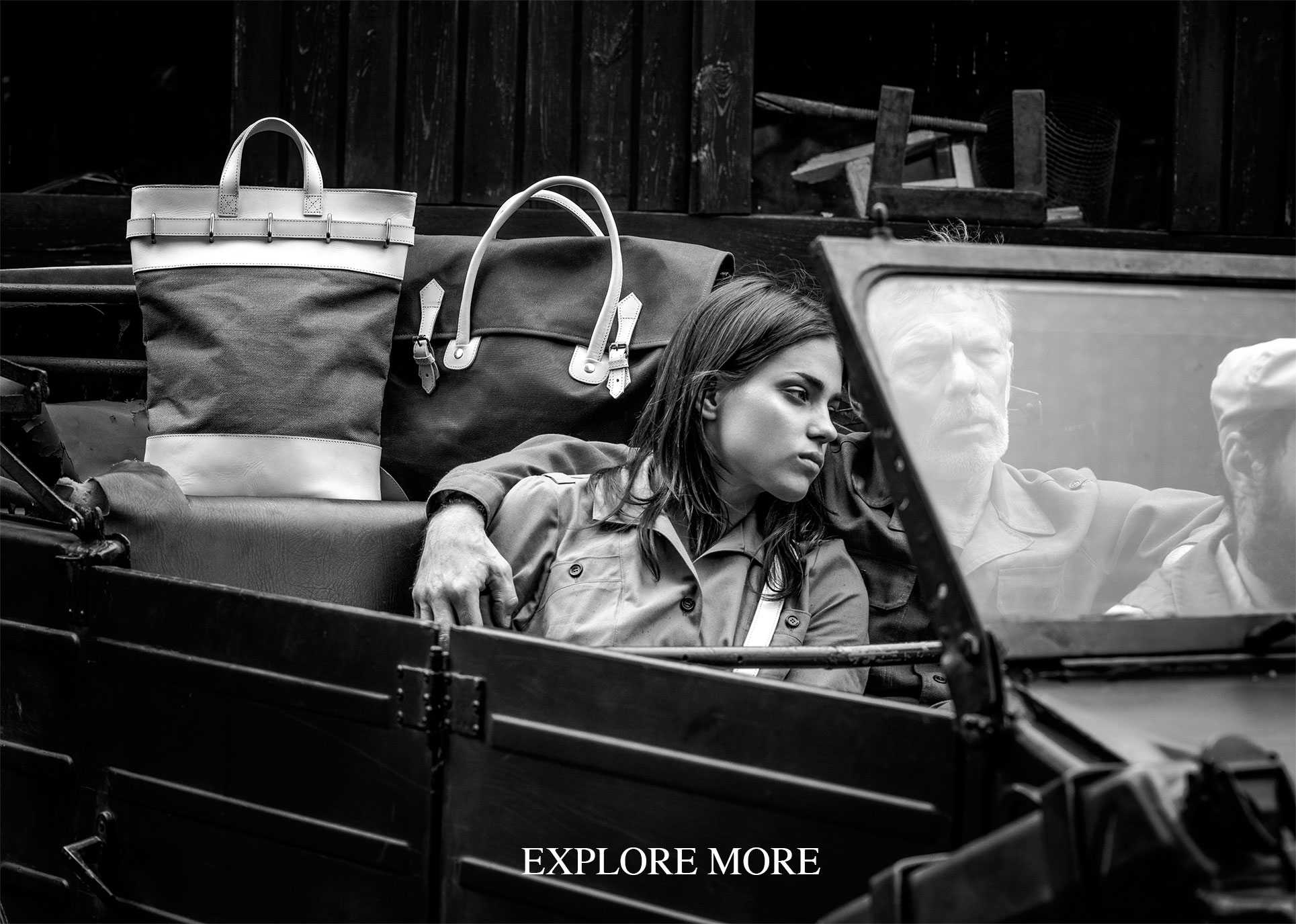 Mahiout shooting with vintage cars of luxury and functional bags and backpacks in leather and cotton canvas sustainable fashion