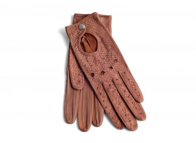 Mahiout shelby driving gloves in salmon