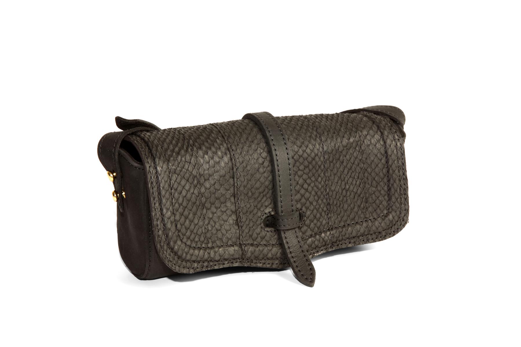 Mahiout Tatra clutch in salmon skin and nubuck leather