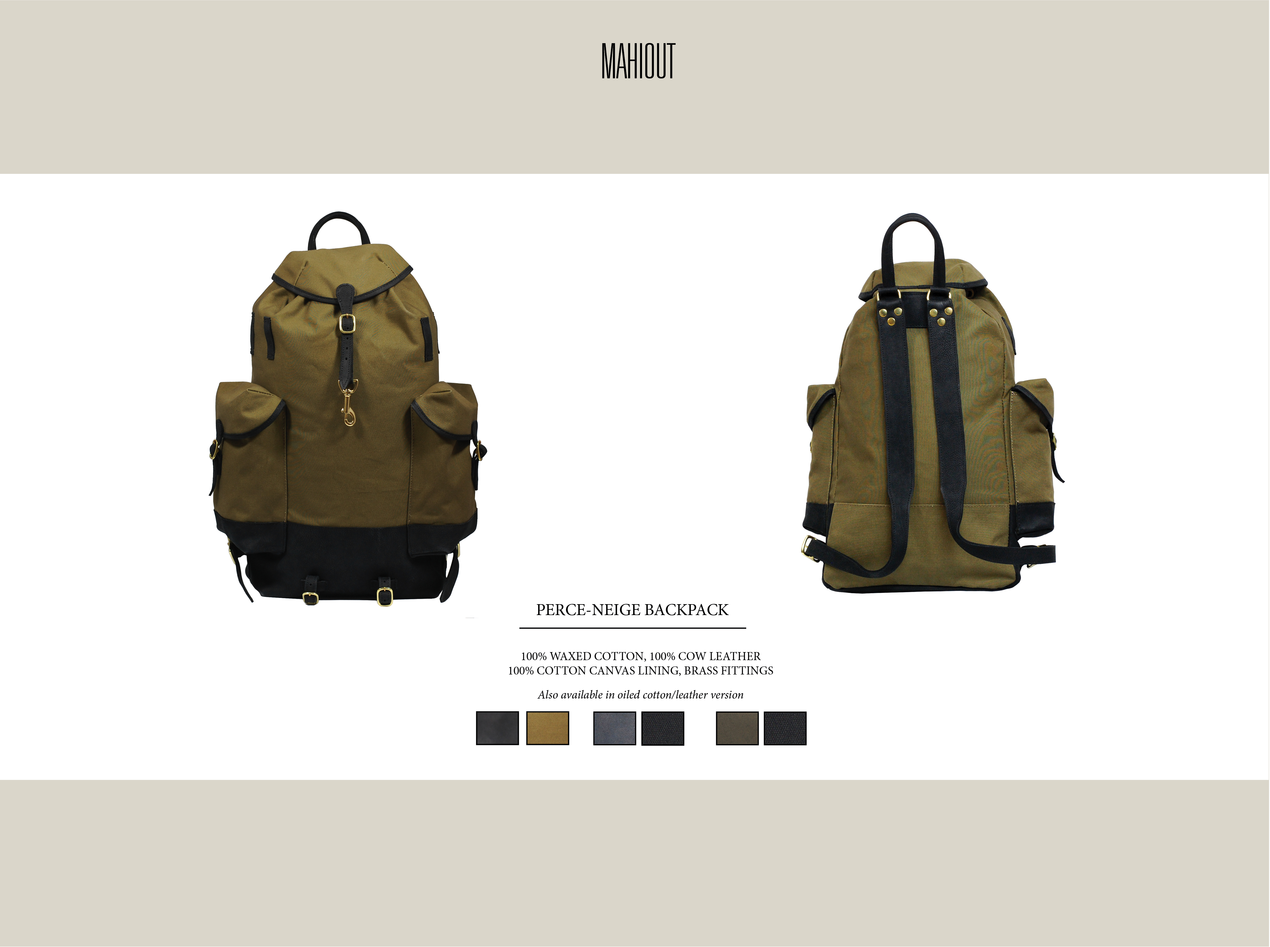 mahiout perce-neige backpack in canvas and leather