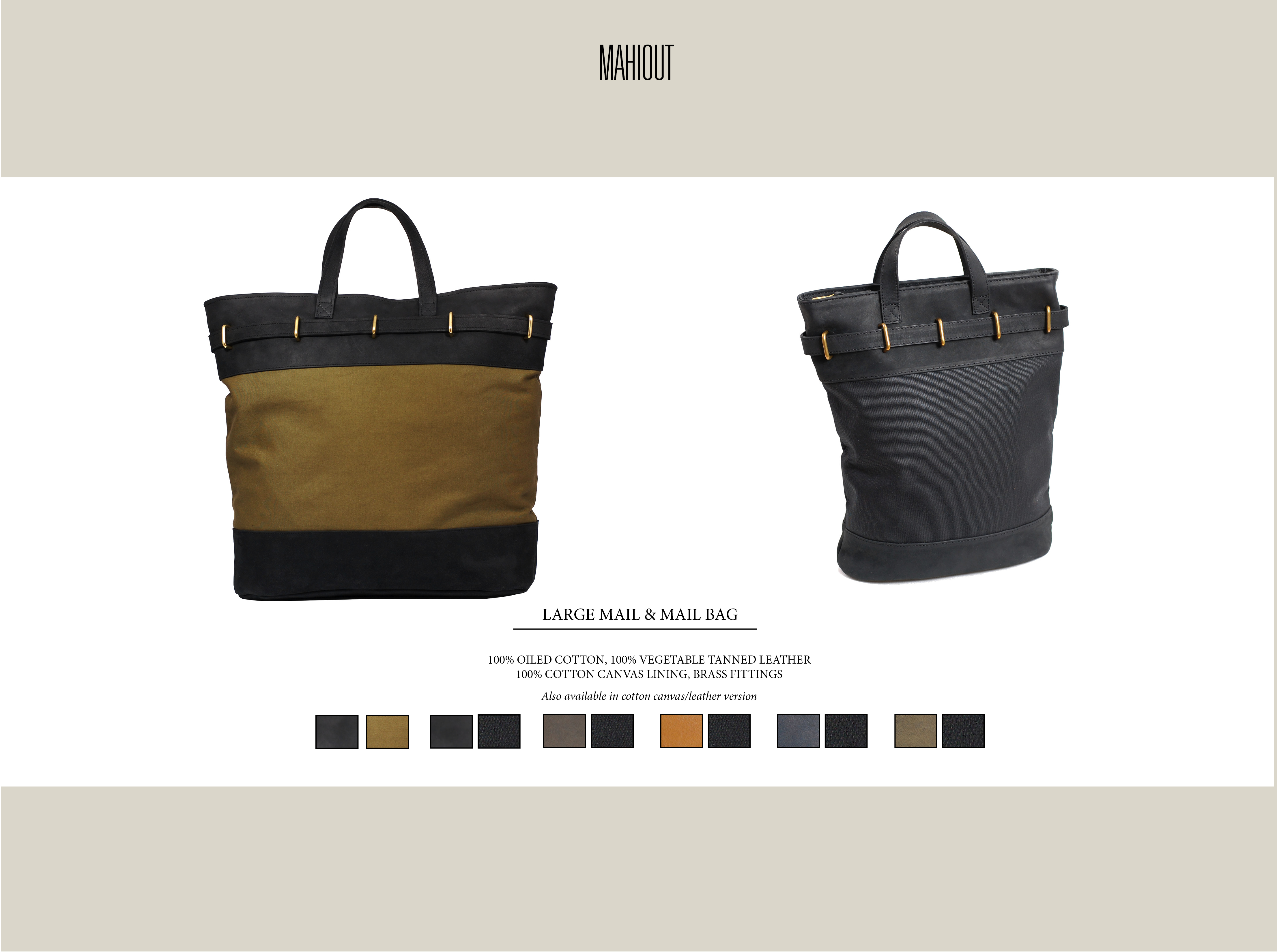 mahiout mail bag in leather and canvas
