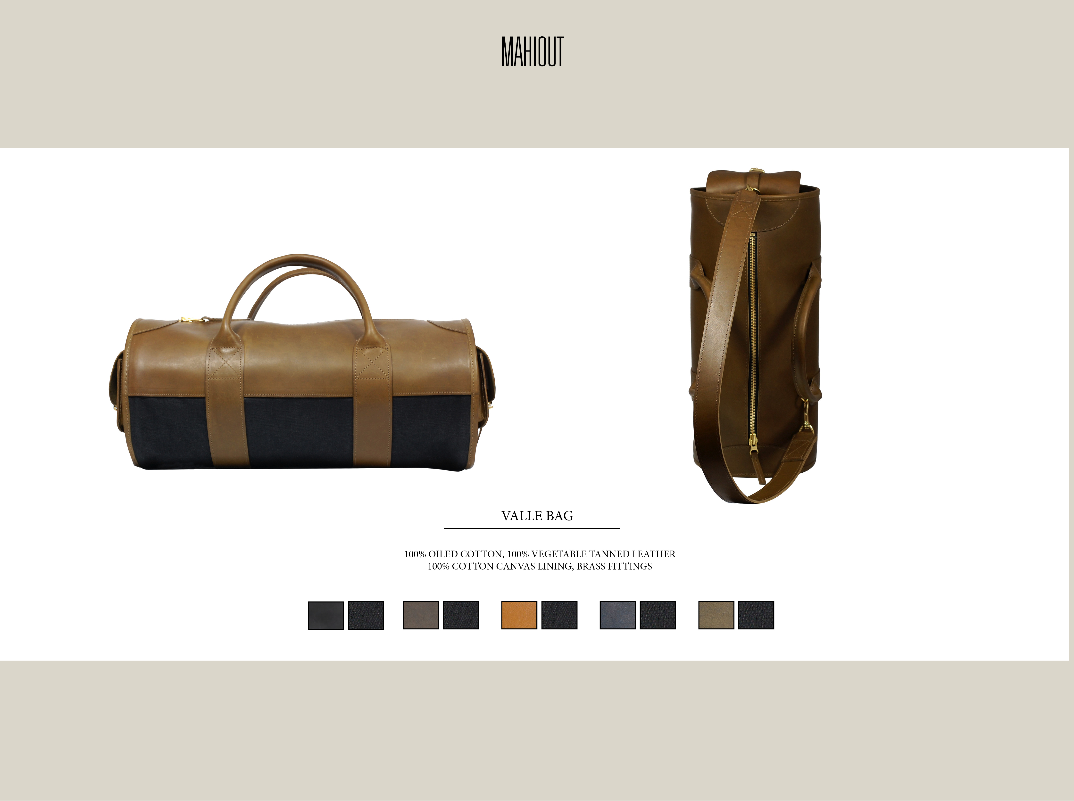 mahiout valle bag in leather and canvas