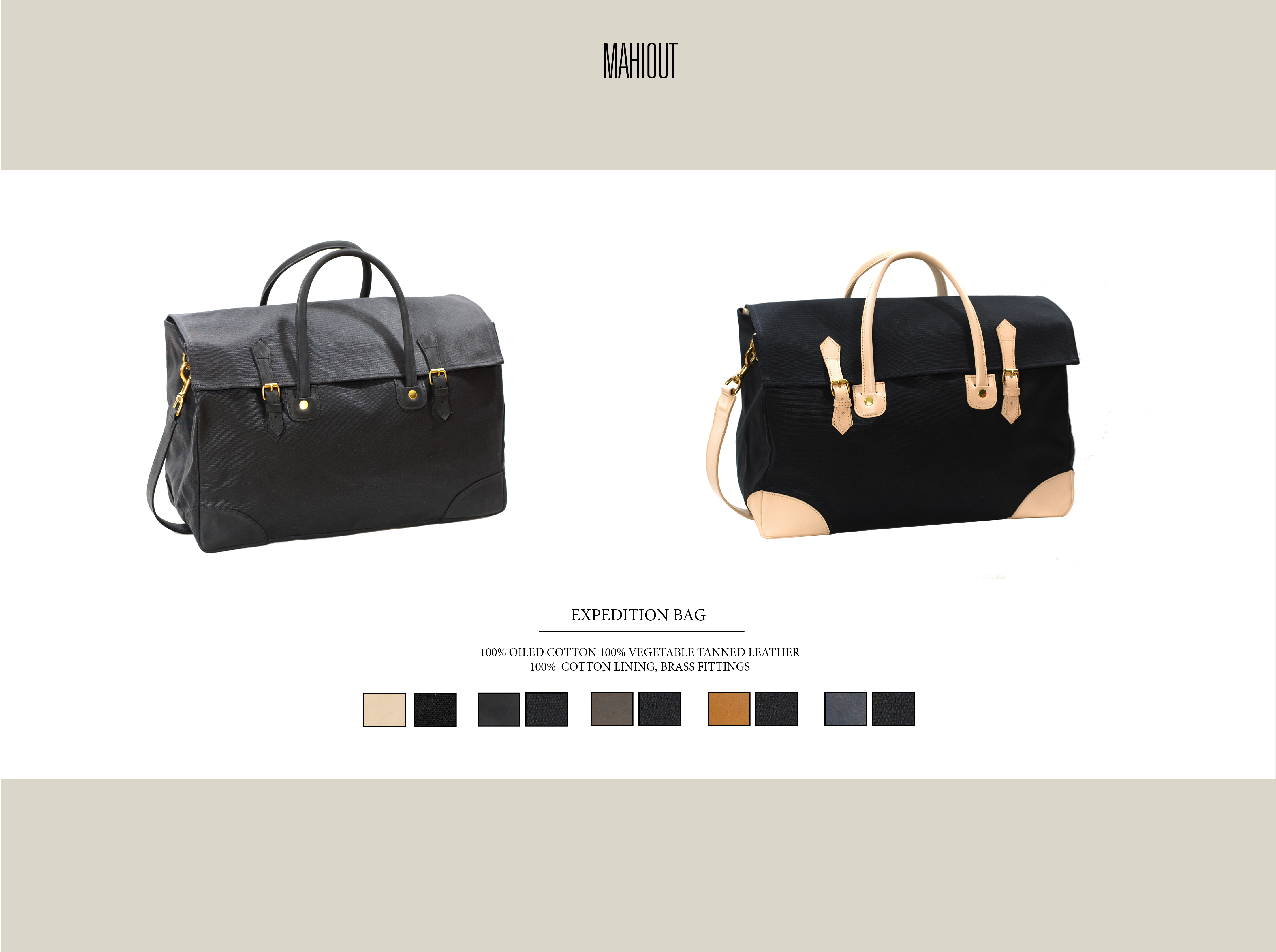 Mahiout expedition bag in canvas and leather
