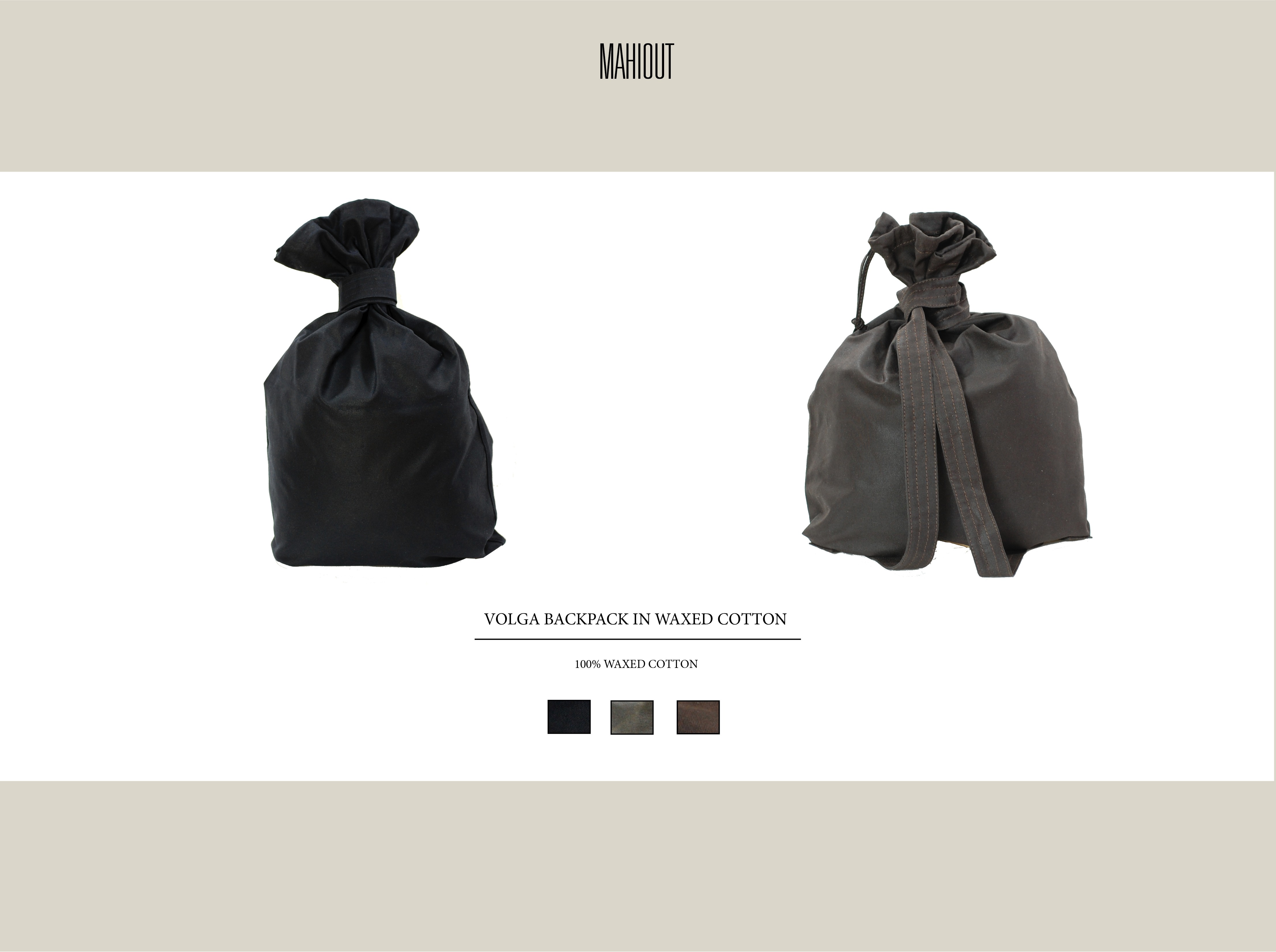 mahiout volga backpack in oiled cotton canvas