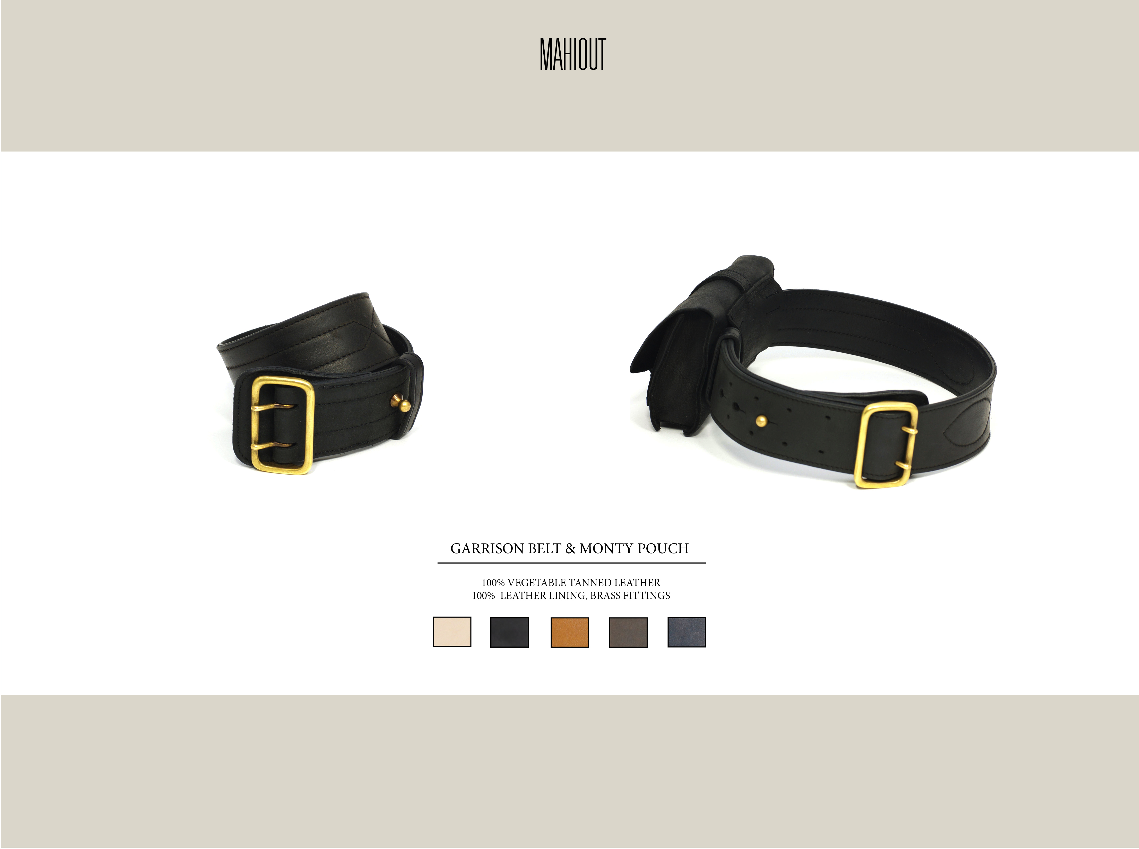 mahiout garrison belt and monty pouch in leather belt bag